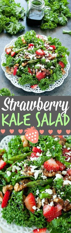 Strawberry Kale Salad :: this tasty kale salad is loaded with fresh strawberries, asparagus, feta, homemade candied walnuts, and topped with a fruity strawberry-infused balsamic