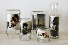 Use empty jars as photo frames
