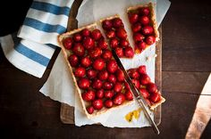 meyer lemon-scented crust and brushed with tart passionfruit jelly topped with strawberries. via desserts for breakfast.