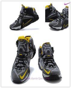 fb16de984d03 Nero Giallo Nike Lebron 12 684593-605 Uomo scarpe tennis Nike Lebron