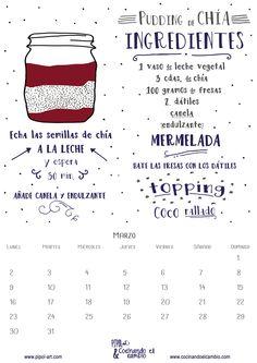 Calendario descargable de marzo con receta ilustrada de pudding de chía. Sin azúcar, sin lactosa, sin gluten y vegano. Un desayuno o postre para triunfar! http://pipol-art.com/blog/en-marzo-las-fresas-y-tu-sereis-lo-mas-buscado-contiene-calendario-descargare-con-receta-ilustrada/ #calendariodescargable, #recetailustrada, #puddingchia, #sinlactosa, #singluten, #vegano, #postre y #desayuno, #mermeladafresas, #pipolart, #cocinandoelcambio, #freebie
