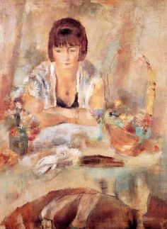 Portrait of Lucy at a Table by Jules Pascin (France)