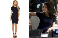 Sheila Vand's Navy Short-Sleeve Dress with Black Trim on 'State of Affairs'