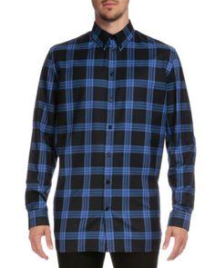 GIVENCHY Columbian-Fit Plaid Long-Sleeve Shirt, Blue. #givenchy #cloth #