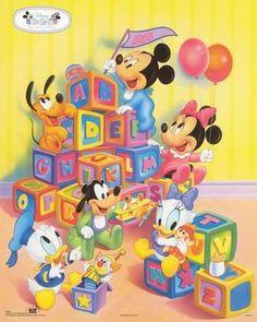 ''Disney Babies: Alphabet Blocks'' by Walt Disney Animation Art Print Pluto Disney, Disney Mickey, Mickey Mouse And Friends, Mickey Minnie Mouse, Disney Posters, Disney Cartoons, Image Mickey, Baby Cartoon Characters, Baby Looney Tunes