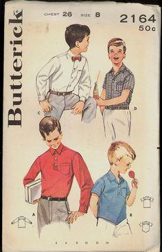 1960s Size 8 Chest 26 Boys Sport Dress Shirt Butterick 2164