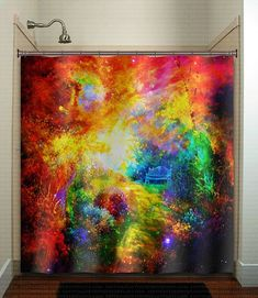 Watercolor Nebula Path Bench in Outer Space Garden shower curtain bathroom decor fabric kids bath window curtains panels valance bathmat by TablishedWorks on Etsy Cool Shower Curtains, Window Curtains, Valance, Bath Window, Home Design Diy, Design Ideas, Garden Shower, Watercolor Galaxy