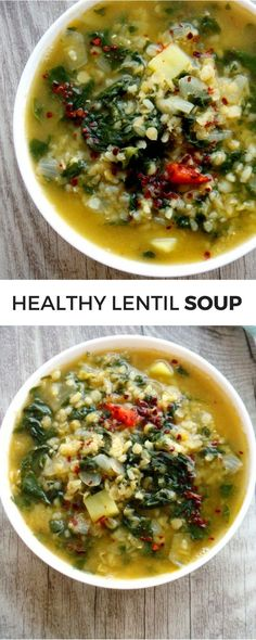 Super tasty healthy lentil soup with bulgur and spinach! This delicious red lentil recipe is high-fiber, high-protein and vegan! Healthy vegan soup recipe | Healthy dinner recipes