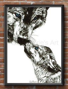 Mother and Baby Wolf Print, wolf art, wolf totem, nursery prints, nursery art