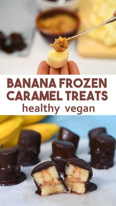 Banana Nut Caramel Chocolate Frozen Treats – easy recipe, healthy frozen snacks and dairy-free. Made from banana, dark chocolate, nut or seed butter and maple syrup. Simple to make at home frozen banana bites that make a healthy chocolate banana ice-cream Frozen Banana Recipes, Banana Snacks, Frozen Banana Bites, Frozen Meals, Frozen Desserts, Banana Nut, Banana Ice Cream, Caramel Treats, Chocolate Treats