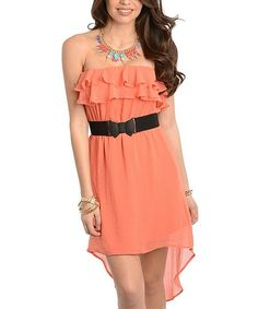 Another great find on #zulily! Coral Ruffle Strapless Hi-Low Dress #zulilyfinds