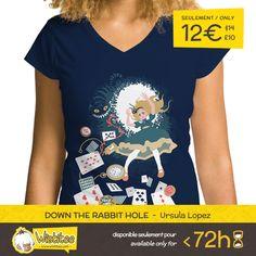 """(EN) """"Down The Rabbit Hole"""" designed by the astounding Ursula Lopez is our NEW T-SHIRT. Available 72 hours, order yours today for only 12€/$14/£10 on WWW.WISTITEE.COM     (FR) """"Down The Rabbit Hole"""" créé par l'incroyable Ursula Lopez est notre NOUVEAU T-SHIRT. Disponible 72 heures, réservez-le dès maintenant pour seulement 12€ sur WWW.WISTITEE.COM     #Alice #cheshirecat #cat #chat #lapin #lapinblanc #rabbit #temps #time #PaysDesMerveilles #wonderland #AliceAuPaysDesMerveilles…"""