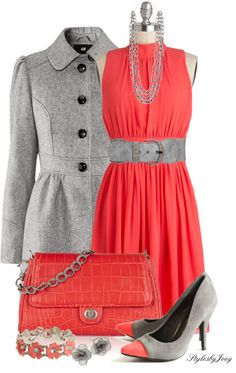 """""""Coral n' Grey"""" by stylesbyjoey ❤ liked on Polyvore"""