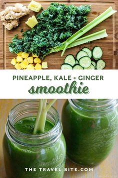 An easy kale ginger green smoothie recipe I love to make for breakfast when I need something quick, but healthy. Includes pineapple, kale, ginger, and more. Celery Smoothie, Kale Smoothie Recipes, Nutritious Smoothies, Ginger Smoothie, Juice Smoothie, Healthy Drinks, Kale Juice Recipes, Green Smoothies, Pineapple Kale Smoothie