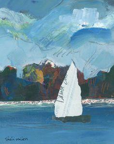 "Sailing Near Shore by Shelli Walters | $250 | 8""w x 10""h | Original Art | http://www.vangoart.co/buy/art/sailing-near-shore @VangoArt"
