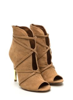 Don't think anyone should be engaging in a *wrap* battle with you in these strappy peep-toe booties...