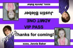 Justin Bieber Party Favors Candy Bag Labels