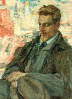 """""""Rilke w Moskwie"""", jeden z nielicznych olejnych portretów poety, namalowany przez Leonida Pasternaka już po śmierci Rilkego, w roku 1928"""