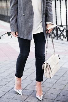 Pinstripe Blazer and Silver Heels