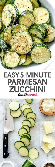 It takes just three ingredients (plus salt and pepper) and about five minutes to create this zucchini side dish that easily slides into just about any main meal menu plan | foodiecrush.com #zucchini #recipe #parmesan #sidedish #easy
