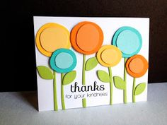 "handmade card from I'm in Haven: Scribble Flowers Thank You .. round layered ""lollypop"" flowers ... bright and cheerful summer colors ..."
