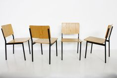 Arp chairs design by Michel mortier Pierre Guariche and Joseph Andre motte  http://www.galerie44.com/fr/collection/vendu/4-chaises-arp-detail