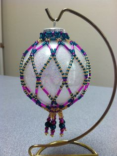 Beaded Ornament Cover - cheery and bright