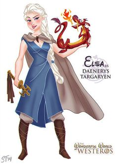 """From the artist: """"Both Elsa from Frozen and Daenerys spend some time learning what it means to be a queen — although one has mystical ice-related abilities and the other is immune to fire and gave birth to three baby dragons, the platinum hair and their shared journey from meek and repressed little girls to badass queens made this choice a no-brainer."""" Illustration by Sam Tsui"""