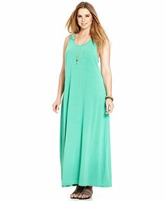 Extra Touch Plus Size Sleeveless Maxi Dress in hot pink and blue