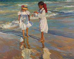 Yuri Krotov - Summer by the rivers edge, Oil on canvas, 26 x 34 Inches - Petleys Ltd, contemporary fine art | SmugMug