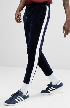 ASOS Skinny Velour Jogger With Contrast Poly tricot Side Panel & Piping from ASOS (men, style, fashion, clothing, shopping, recommendations, stylish, menswear, male, streetstyle, inspo, outfit, fall, winter, spring, summer, personal)