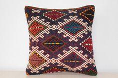 Vintage Kilim Pillow 16x16  Decorative Pillow   by KilimBazaar