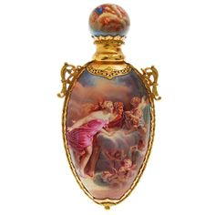 Antique French Perfume Bottle Limoges Cartouche.