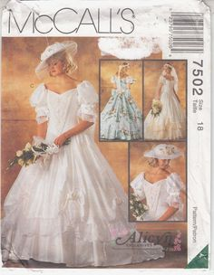 Vintage McCalls Alicyn Factory Folded Pattern Gone With The Wind Bridal Dress Gown Size 12 Bust 34 circa 1995 Belle Wedding Dresses, Wedding Dress Patterns, Designer Wedding Dresses, Bridal Dresses, Wedding Gowns, Wedding Bridesmaids, Southern Belle Wedding, Patterned Bridesmaid Dresses, Gown Pattern