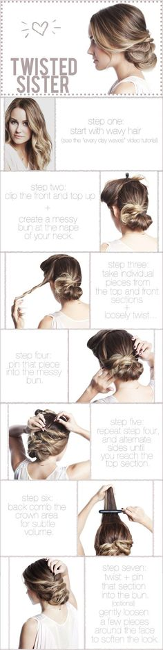 Twisted Hair up do : hair hair hair :D Easy Bun Hairstyles, Pretty Hairstyles, Updo Hairstyle, Chignon Updo, Summer Hairstyles, Creative Hairstyles, Bridal Hairstyles, Style Hairstyle, Hairstyle Ideas