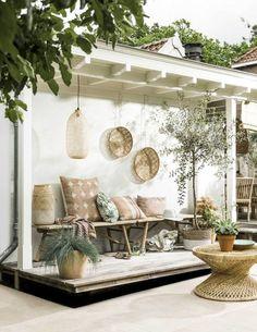 Bohemian backyard patio near pool
