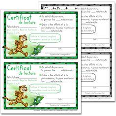 Fichier PDF téléchargeable Versions en couleurs et en noir et blanc incluses 2 pages  Voici un modèle de certificat de lecture pour les élèves qui ont lu tous les textes de Rapido-Lecto.