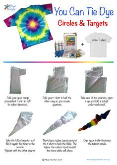 Aug 2017 - Learn how to Tie Dye rainbow circles on your t-shirt. How to tie your t-shirt and where to put the dye.
