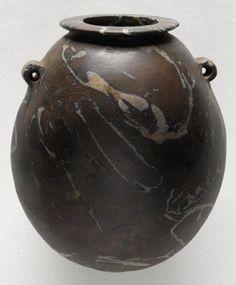 Stone; Egyptian, Predynastic, Nagada III, 1st Dynasty, Vase, Oval, 2 Handles, Brown, Veining, 3 inch.