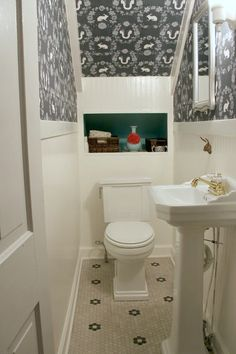 Our little Powder room under the stairs...and the makeover!