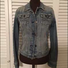 """Distressed Denim Jacket Vintage Distressed,  the real Distressed Denim.    One you will never find again unless you already have it hanging in the back of your closet like this one was.  So very loved,  that's why it's been there! 😥  sad,  but time to pass along.  Ask if you want more photos.  This one is perfect and a fit to show off your curves.  41"""" Bust and 36"""" at smallest part of waist Abercrombie & Fitch Jackets & Coats Jean Jackets"""