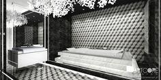 Piękna czarno-białą łazienka. Eleganckie, klasyczne wnętrze utrzymane niezwykłej stylistyce. Więcej projektów wnętrz na www.artcoredesign.pl