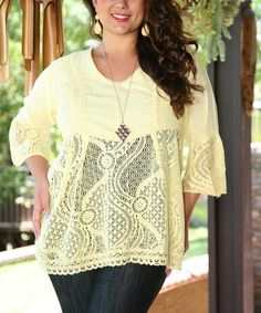 Look at this Ananda's Collection Yellow Lace Tunic - Plus on #zulily today!