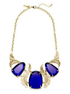 Kendra Scott Jewelry Iggy Feather & Faceted Cobalt Quartz Bib Necklace