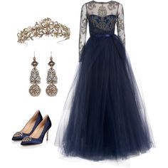 Masha by alladen on Polyvore featuring Notte by Marchesa, Manolo Blahnik and Lulu Frost