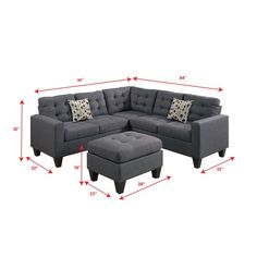 Fusing the contemporary and classic design with this collection of 4-piece modular sectionals covered in polyester/polyester blend. With plush seating and back support, each piece is accented with asymmetrical tufting and stitching to enhance your living space. Complement the sectional with accent pillows and a matching cocktail ottoman.