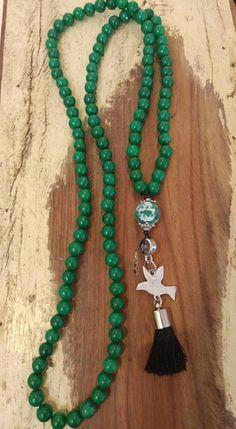 Japamala 108 contas-Jade (pedra natural) Diy Jewelry, Beaded Jewelry, Jewelery, Jewelry Accessories, Beaded Necklace, Mala Bracelet Diy, Stone Gold, Men Necklace, Craft