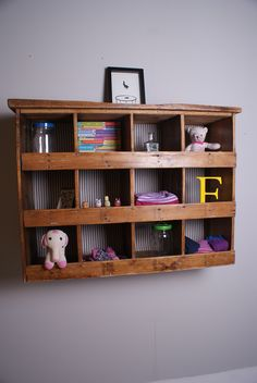 Reclaimed Wood Pigeon Hole Storage Unit. Perfect for a playroom or bedroom