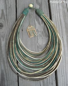 Baltic Sea yarn-wrapped necklace / tribal / hippie / bohemian / pastel / earthy / thread-wrapped