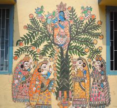 Painting on the wall of a building in a village in Madhubani, Bihar, India